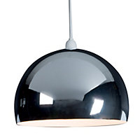 B&Q Horizon Chrome effect Domed Light shade (D)300mm