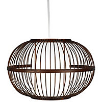 Mandy Brown Bamboo with inner diffuser Light shade (D)300mm