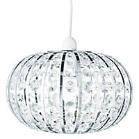 Colours Leona Silver effect Beaded Light shade (D)270mm