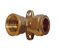 Plumbsure Compression Wallplate Pipe elbow (Dia)15mm