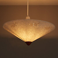 Olive Cream Leaf print Uplighter light shade (D)400mm