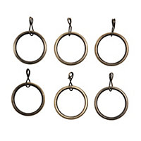 Colours Brass effect Curtain ring (Dia)16mm, Pack of 6
