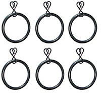 Colours Black Curtain ring (Dia)25mm, Pack of 6