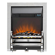 Sirocco Fairfield LED Remote control Brushed Steel/Black Electric Fire