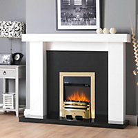Sirocco Westerly LED Remote control Brass & Black Electric Fire