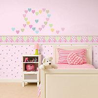 Fun4Walls Pretty hearts Multicolour Self-adhesive Wall sticker
