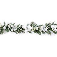 1.8m Pre-lit Poinsettia White & silver Christmas garland