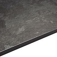 12.5mm Exilis Lave black Granite effect Square edge Laminate Worktop (L)2.4m (D)425mm