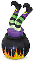 1550mm Cauldron & witch Inflatable with White LED