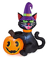 1830mm Black cat & pumpkin Inflatable with White LED