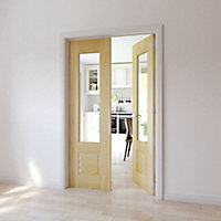 2 panel 1 Lite Glazed Primed Pine Internal French Door set, (H)2020mm (W)1230mm