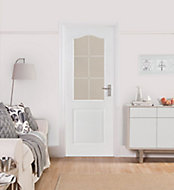 2 panel 6 Lite Etched Glazed Arched Pre-painted White Internal Door, (H)1981mm (W)762mm