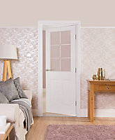 2 panel 6 Lite Etched Glazed Pre-painted White Internal Door, (H)1981mm (W)762mm (T)35mm