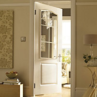 2 Panel Arched Pre-painted White Woodgrain Internal Standard Door, (H)1981mm (W)838mm