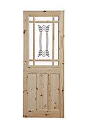 2 panel Patterned Glazed Knotty pine LH & RH Internal Door, (H)1981mm (W)762mm