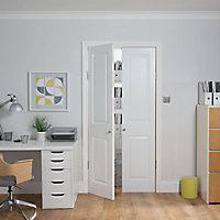 2 panel Patterned Unglazed Traditional White LH & RH Internal Cupboard Door, (H)1981mm (W)457mm
