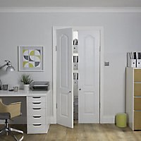 2 panel Patterned Unglazed Traditional White LH & RH Internal Cupboard Door, (H)1981mm (W)457mm