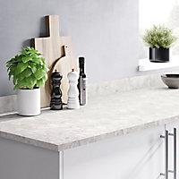 22mm Algiata Matt Marble effect Chipboard & laminate Square edge Kitchen Worktop, (L)3000mm