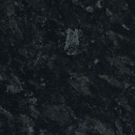 28mm Ebony granite Gloss Black Stone effect Laminate Round edge Bathroom Worktop, (L)2000mm