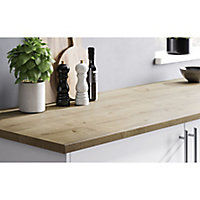 28mm Matt Brown Oak effect Laminate & particle board Post-formed Kitchen Worktop, (L)2400mm
