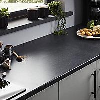 28mm Matt Dark grey Stone effect Laminate & particle board Post-formed Kitchen Worktop, (L)2400mm