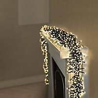 3000 Warm White LED Cluster String lights Green cable