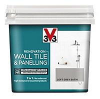V33 Renovation Loft grey Satin Wall tile & panelling paint, 0.75L