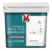 V33 Renovation White Satin Wall tile & panelling paint, 0.75L