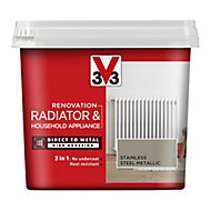V33 Renovation Stainless steel Metallic effect Radiator & appliance paint, 0.75L