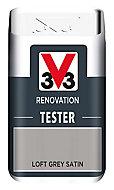 V33 Renovation Loft grey Satin Multi-surface paint, 0.05L
