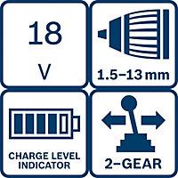 Bosch Dynamic Cordless 18V 4Ah Li-ion Drill driver 2 batteries GSR18V-LI