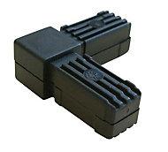 Black PVC Square tube connectors (H)20mm (W)20mm