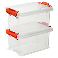 Clear 0.35 L Plastic Stackable Storage boxes, Set of 2