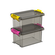 Smoked 0.35 L Plastic Stackable Storage boxes, Set of 2