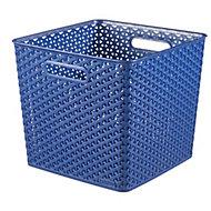 My style Blue rattan effect 25L Plastic Nestable Storage basket (H)280mm (W)330mm