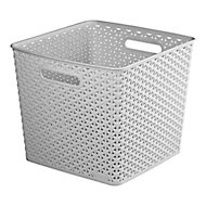 My style Grey 25L Plastic Nestable Storage basket (H)280mm (W)330mm