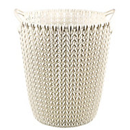 Curver Oasis white Knit effect Plastic Circular Kitchen bin, 7L
