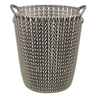 Curver Harvest brown Knit effect Plastic Circular Kitchen bin, 7L