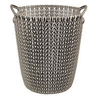 Curver Harvest brown Knit effect Plastic Circular Kitchen bin, 7L