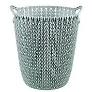 Curver Misty blue Knit effect Plastic Circular Kitchen bin, 7L
