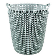 Curver Misty blue Knit effect Plastic Circular Kitchen bin, 7L