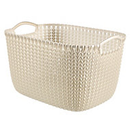 Knit collection Oasis white 19L Plastic Storage basket