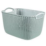 Knit collection Misty blue 19L Plastic Storage basket