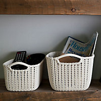 Knit collection Oasis white 8L Plastic Storage basket