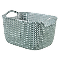 Knit collection Misty blue 3L Plastic Storage basket