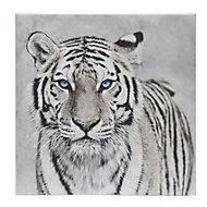 Tiger Black & white Canvas (W)450mm (H)450mm