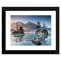 Misty summer Blue & pink Framed print (H)440mm (W)540mm