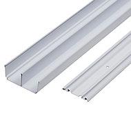 Valla White Sliding wardrobe door track (L)1800mm