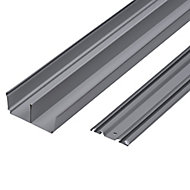 Valla Silver effect Sliding wardrobe door track (L)1800mm