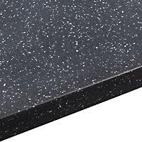 34mm Black star Black & light grey Stone effect Earthstone Round edge Kitchen Breakfast bar Worktop, (L)1800mm